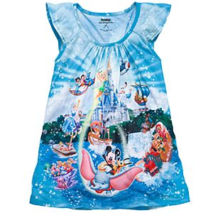 Sublimated Disney Storybook Attractions Magic Kingdom Tee for Girls