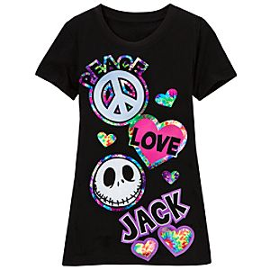 Peace, Love and Jack Jack Skellington Tee for Girls
