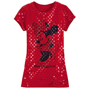 Foil Art Polka Dot Minnie Mouse Tee for Girls