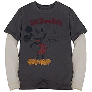 Double-Up Long Sleeve Thermal Mickey Mouse Tee for Boys