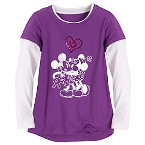 Double-Up Long Sleeve Heart Minnie and Mickey Mouse Tee for Girls
