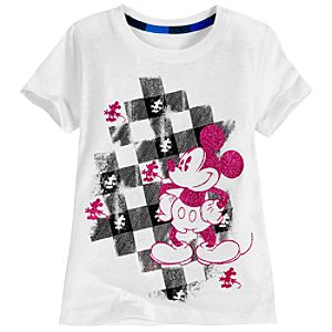 Plaid Accent Glitter Mickey Mouse Tee for Girls