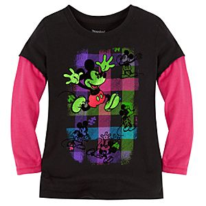 Double-Up Long Sleeve Flocked Mickey Mouse Tee for Girls