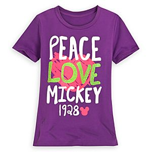 Peace Love Mickey Mouse Tee for Girls