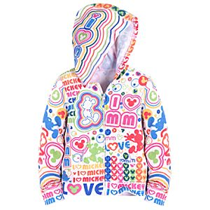 Hooded Sublimated I Heart Mickey Mouse Jacket for Girls