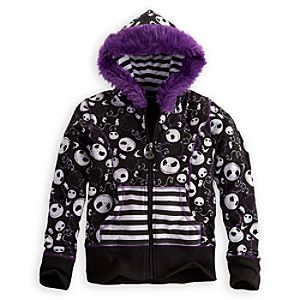 Zip Jack Skellington Fleece Hoodie for Girls