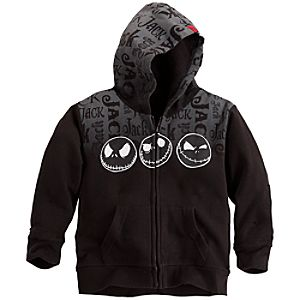 Zip Jack Skellington Fleece Hoodie for Kids