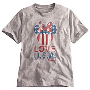 Limited Availability Disneyland U.S.A. Flag Minnie Mouse Tee for Girls