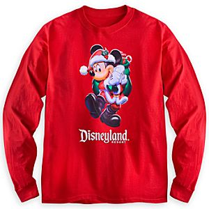 Santa Mickey Mouse Long Sleeve Tee for Adults - Disneyland