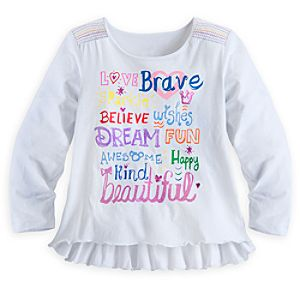 Disney Parks Long Sleeve Text Top for Girls - White