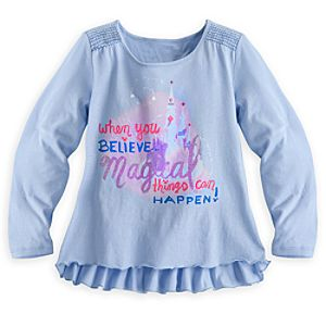 Disney Parks Long Sleeve Text Top for Girls - Blue