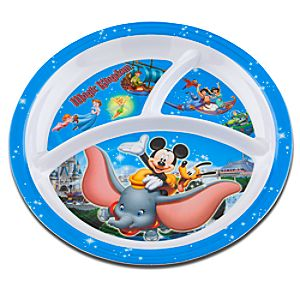 Disney Storybook Attractions Melamine Magic Kingdom Plate