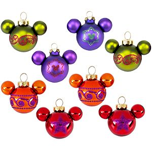 Bohemian Holiday Glass Mickey Mouse Ornament Set -- 8-Pc.