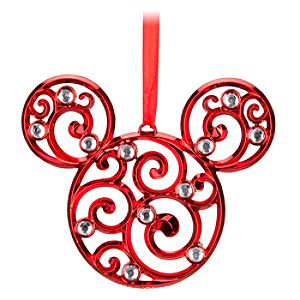 Bohemian Holiday Filigree Mickey Mouse Ornament -- Red