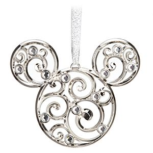 Bohemian Holiday Filigree Mickey Mouse Ornament -- Silver