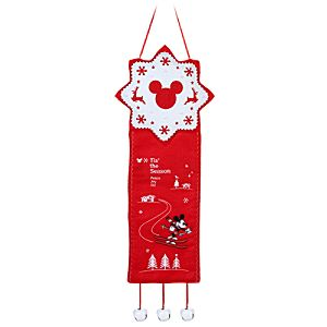 Red and White Holiday Skiing Mickey Mouse Door Hanger