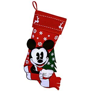 Red and White Holiday Mickey Mouse Stocking