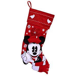 Red and White Holiday Minnie Mouse Stocking