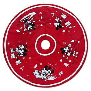 Red and White Holiday Winter Sport Minnie and Mickey Mouse Tree Skirt