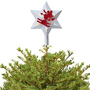 Red and White Holiday Skiing Mickey Mouse Tree Topper