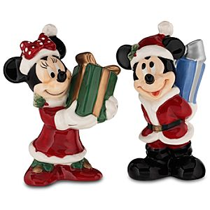 Santa Mickey Mouse and Minnie Mouse Salt & Pepper Shakers -- 2-Pc