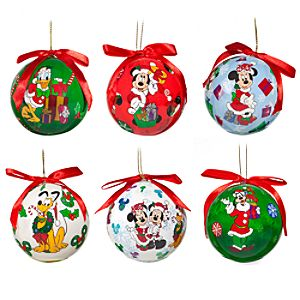 Decoupage Santa Mickey Mouse Ornament Set -- 6-Pc.