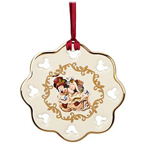 Snowflake Victorian Minnie and Mickey Mouse Ornament