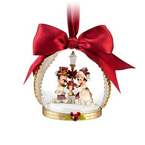 Victorian Globe Minnie and Mickey Mouse Ornament