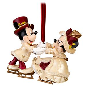 Victorian Skating Minnie and Mickey Mouse Ornament
