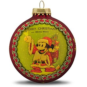 Limited Edition Merry Christmas Micky Maus Mickey Mouse Ornament by Krebs -- Red