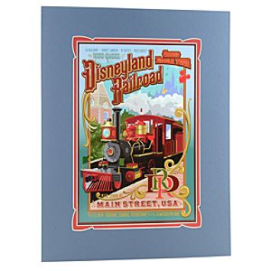 Matted Disneyland Railroad Attraction Poster Print -- 18 x 14