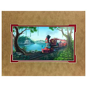 Disneyland Steam Train & Mark Twain Riverboat Deluxe Print by Steve Adams