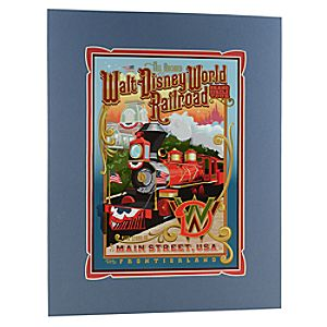 Matted Walt Disney World Railroad Attraction Poster Print -- 18 x 14