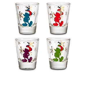 Santa Mickey Mouse Mini Glass Set -- 4-Pc.