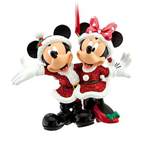 Santa Mickey and Minnie Mouse Ornament