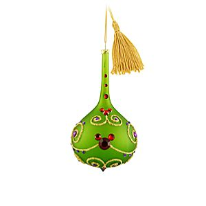 Bohemian Jeweled Mickey Mouse Teardrop Ornament -- Green