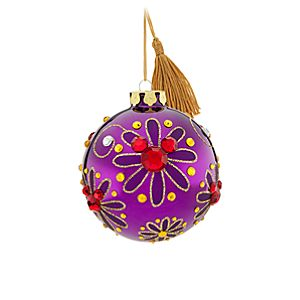 Bohemian Jeweled Mickey Mouse Ball Ornament -- Purple