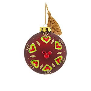 Bohemian Jeweled Mickey Mouse Ball Ornament -- Red