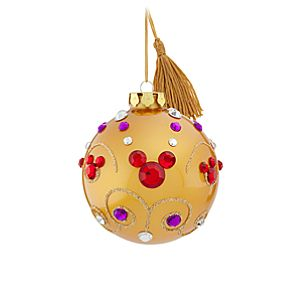 Bohemian Jeweled Mickey Mouse Ball Ornament -- Gold
