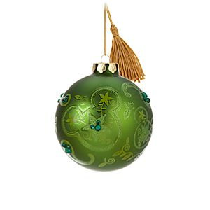 Bohemian Mickey Mouse Ball Ornament -- Green