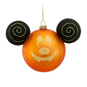 Glass Halloween Mickey Mouse Ornament