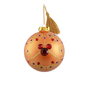 Bohemian Jeweled Mickey Mouse Ball Ornament -- Orange