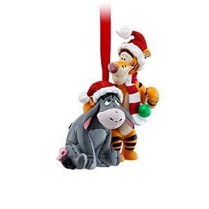 Santa Tigger and Eeyore Ornament