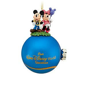 Walt Disney World Minnie and Mickey Mouse Ornament with Tinker Bell