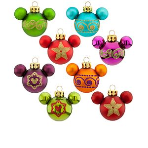 Miniature Glass Icon Mickey Mouse Ornament Set -- 8-Pc.