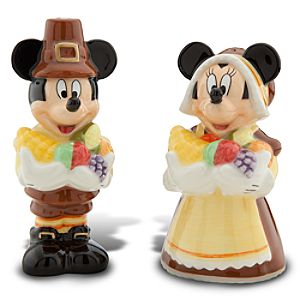 Thanksgiving Minnie and Mickey Mouse Salt and Pepper Shakers -- 2-Pc.