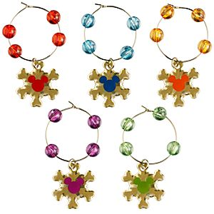 Mickey Mouse Icon Beverage Glass Charms Set - Holiday