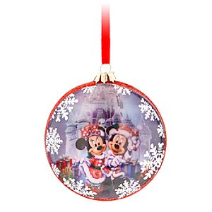 Santa Mickey Mouse and Minnie Glass Ornament - Walt Disney World
