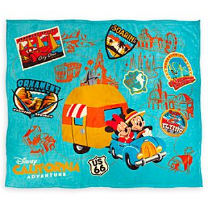Mickey and Minnie Mouse Plush Blanket - Disney California Adventure