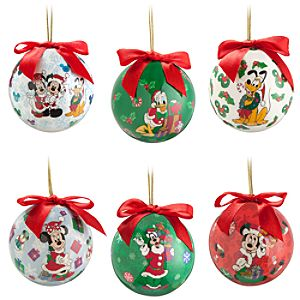 Santa Mickey Mouse Decoupage Ornament Set